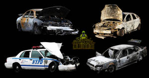 Burnt out cars and a destroyed US police car png