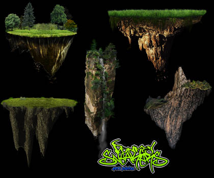Floating Island PNG Pack by DonkeySneakers