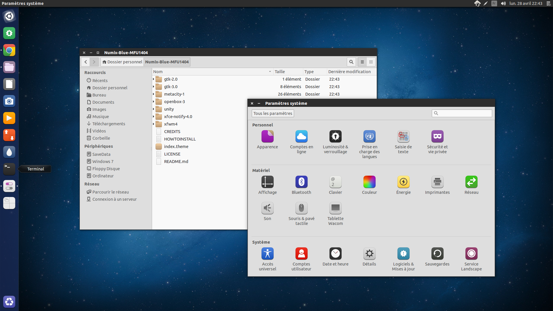 Numix Blue GTK Theme: Modded without 'Unity boxes' by ChrisFR06