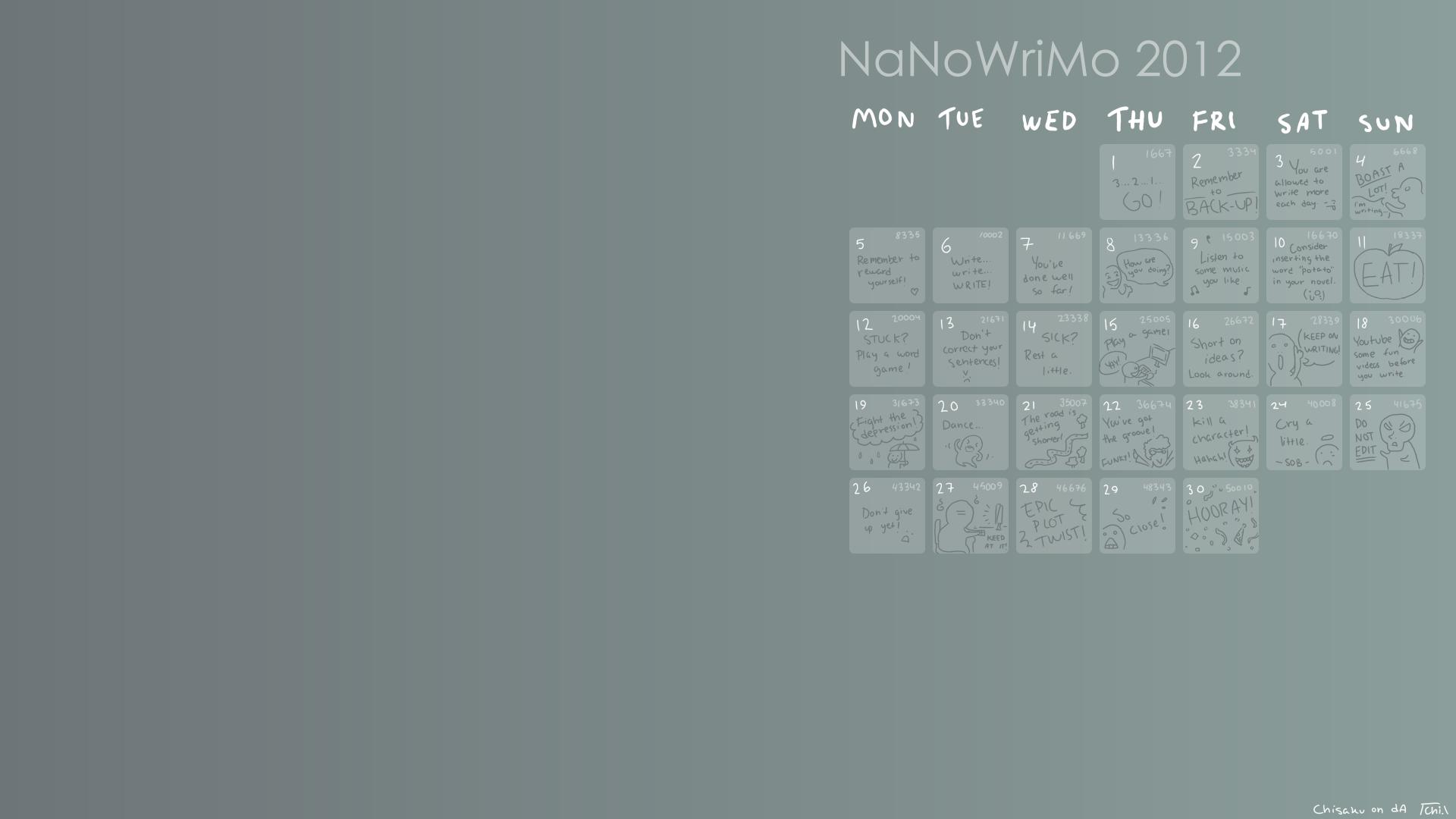 Diy Calendar Background : Diy nanowrimo calendar wallpaper gimp by chisaku on