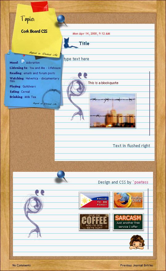 CSS Corkboard by madcoffee