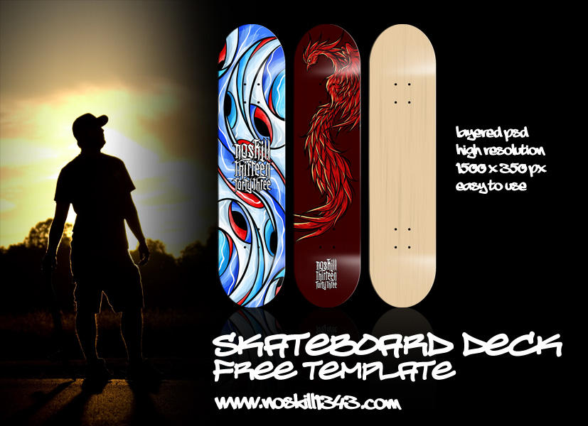 Free Photoshop PSD Skateboard Deck Template