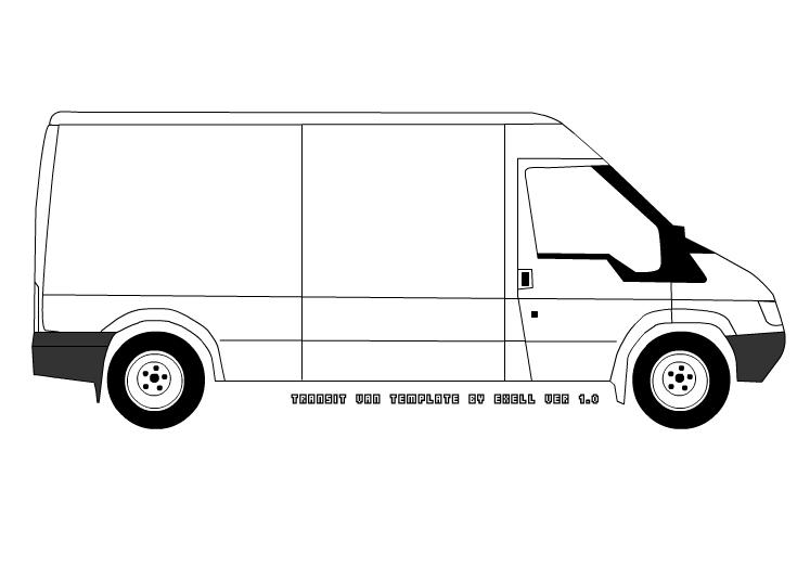Transit Van Sketch Template by exell