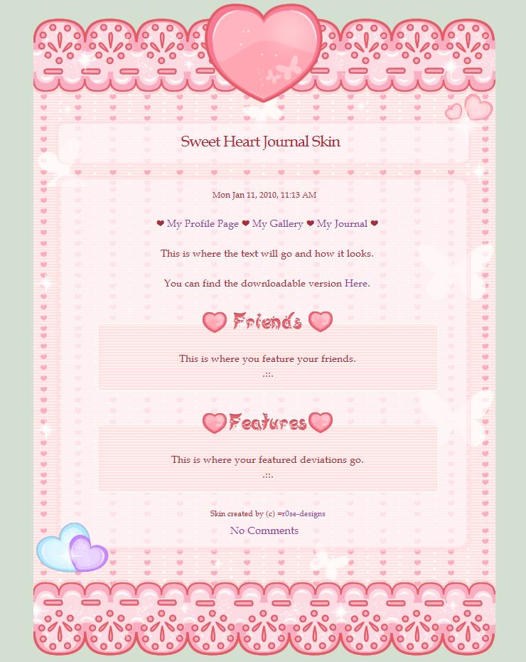 Sweet Heart - Free Journal Skin by r0se-designs