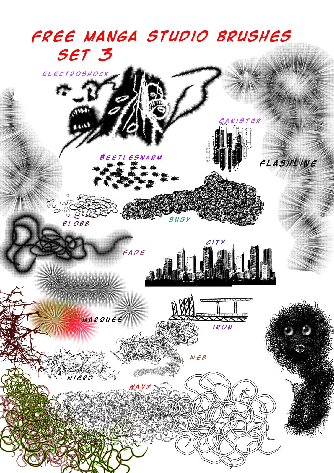 Manga Studio version 4 Free Brushes set 3 by 888toto
