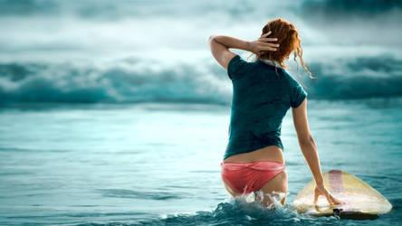 Surf Girl Wallpaper by maxvanijsselmuiden