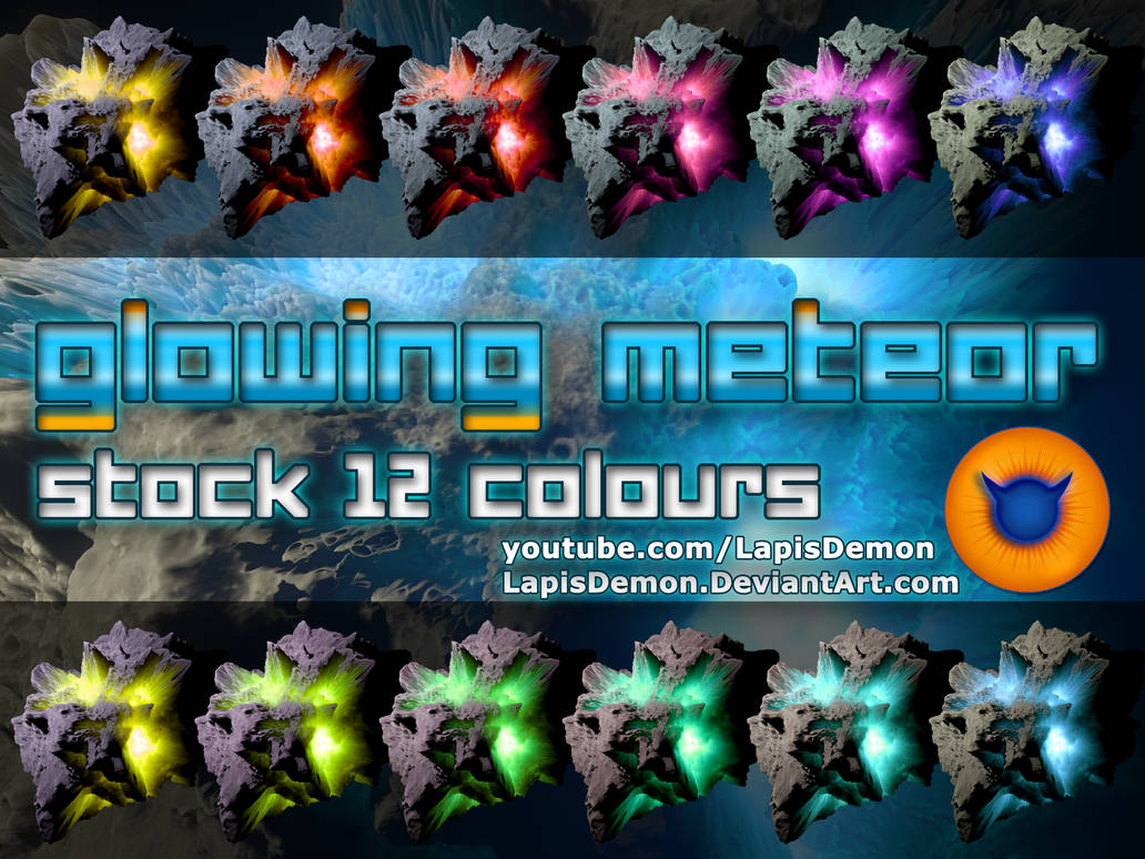 Asteroid Meteor 12 colours Space Stock PNG-ZIP