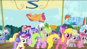 Scootaloo and Rainbow Dash get celebrated! (Crop)