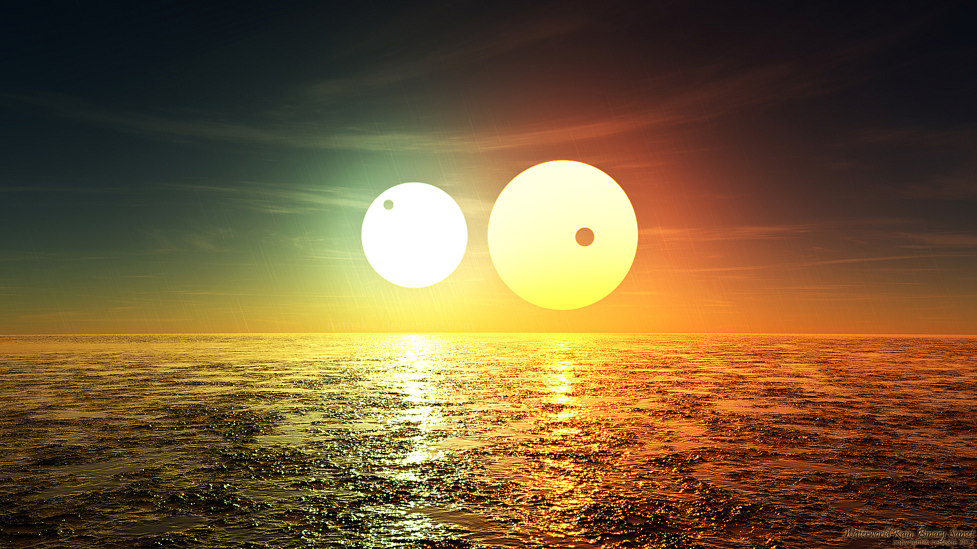 Waterworld Rain Binary Sunset By Nethskie On Deviantart