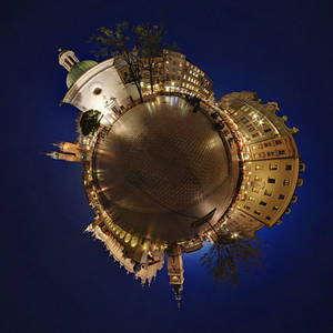 Cracow by night - spherical panorama 360