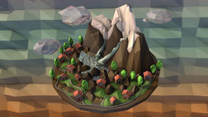 Low-Poly Mountain Island top view