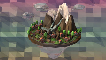 Low-Poly Mountain ISLAND. Animation by MimiMiaART