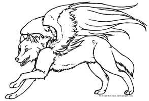 Winged Wolf - Lineart by little-kitsune