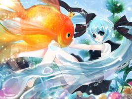 Work Process - Bottle Miku with King Goldfish by TashaChan