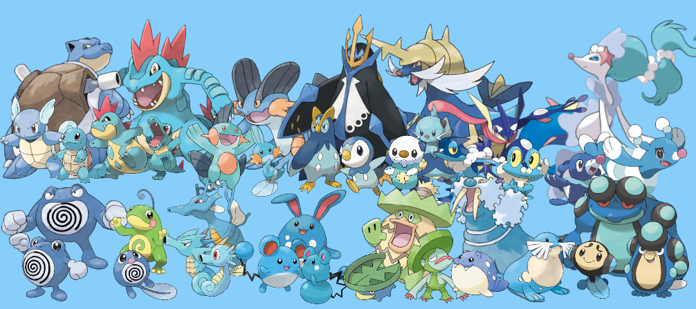 Pokemon: 3-Stage Families - Water Types by quintonshark8713 on DeviantArt