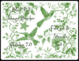 Folk and Stencil Set 1 by Sangre-brushes