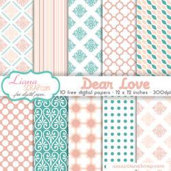 Free digital paper pack Dear Love Set
