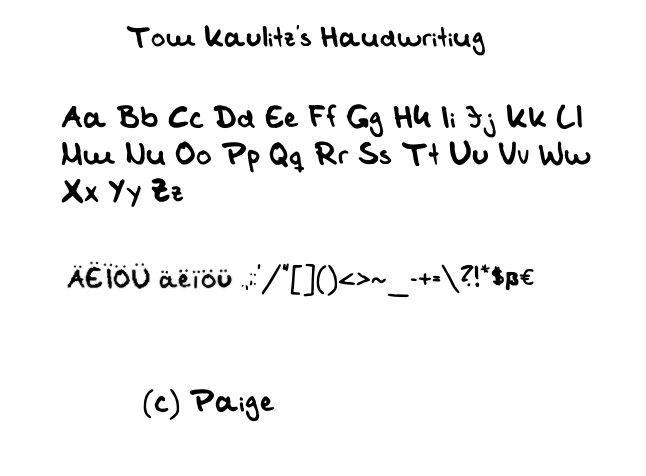 Tom Kaulitz Handwriting Font by Shaiza7