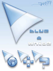 77 blue and white