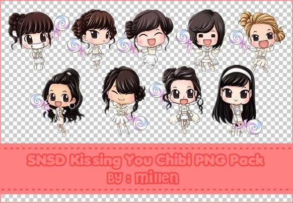 SNSD Kissing You Chibi PNG Pack by LennSoshi