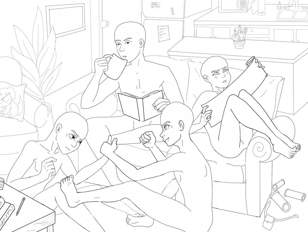 Drawing Base Four Friends Lounging By Carribu On Deviantart Feel free to use as long you don't claim it as your's and credit me. drawing base four friends lounging by