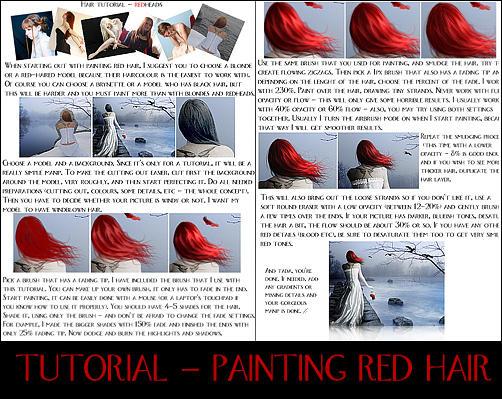 Red hair tutorial by Kechake