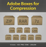Adobe Boxes Compression Icons