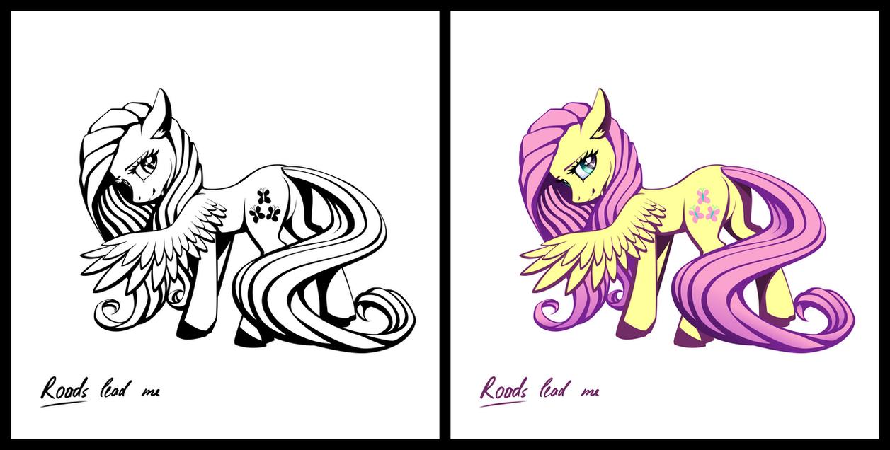 Pony sticker - Fluttershy by iOVERD