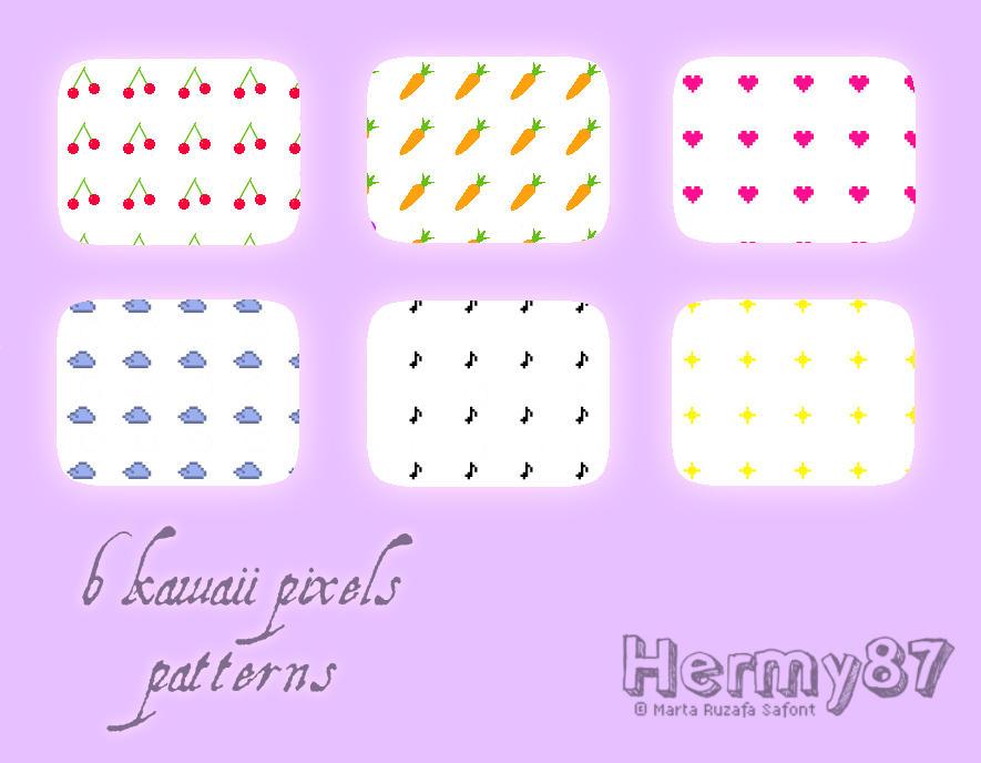 Kawaii pixels patterns by Hermy87
