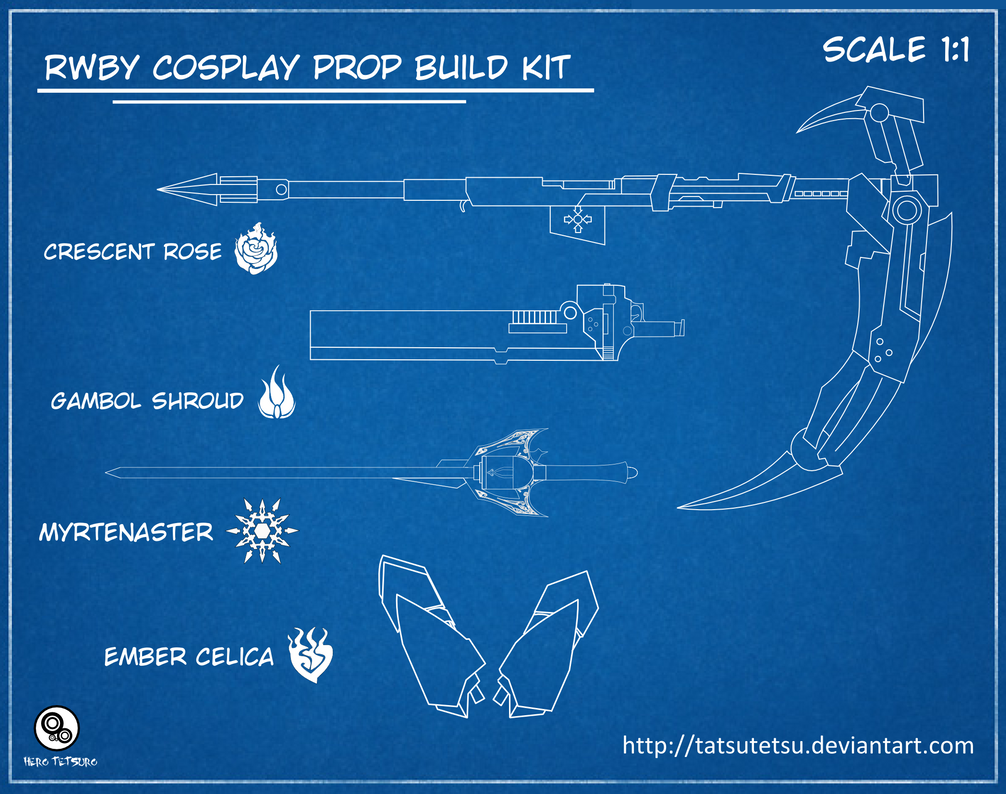 rwby cosplay prop build kit updated by tatsutetsu on deviantart