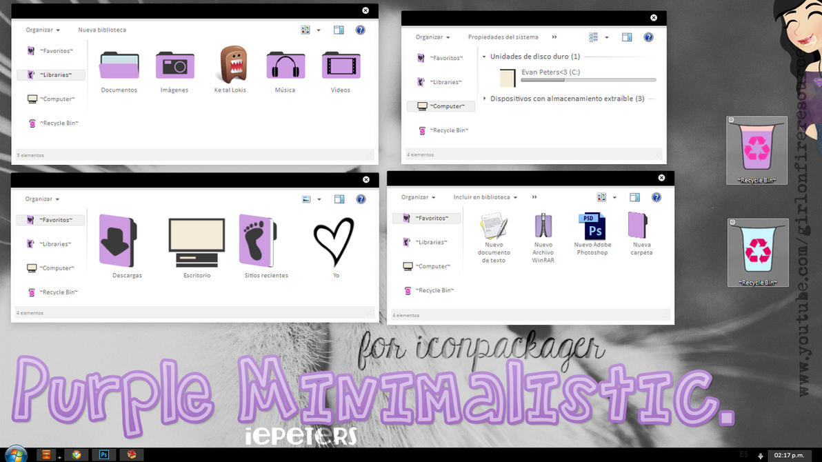 Theme IconPackager: Purple Minimalistic. by iEPeters