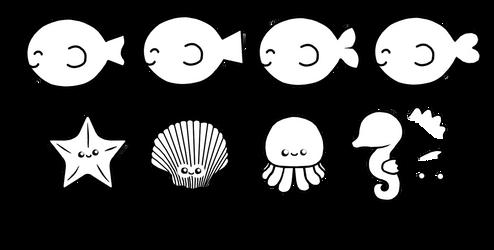 F2U Sea creature lineart