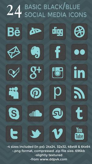 Black-blue-icon-set