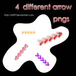 4 different arrow pngs pack
