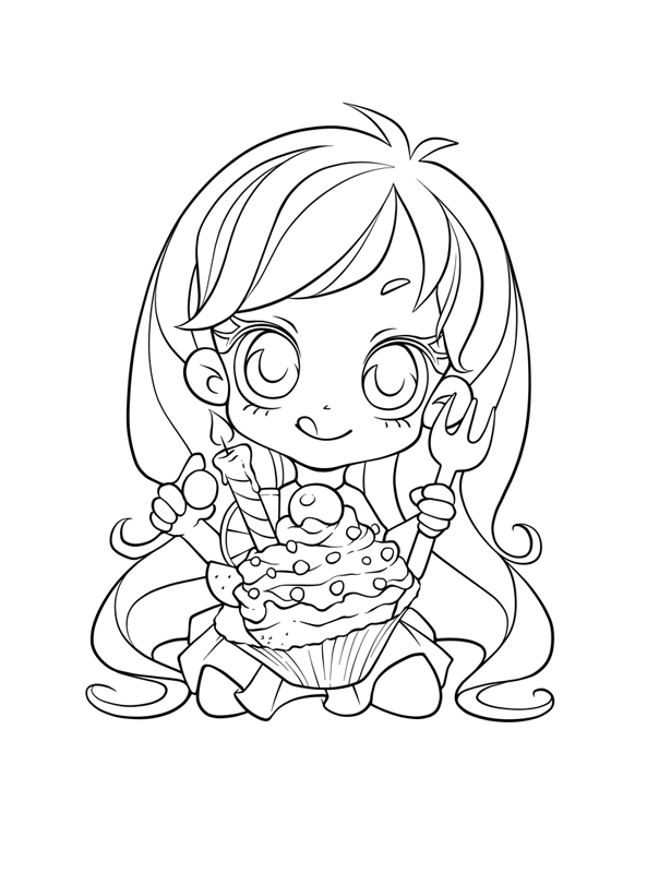 Chibi Cupcake colouring page by FrogMakesArt on DeviantArt
