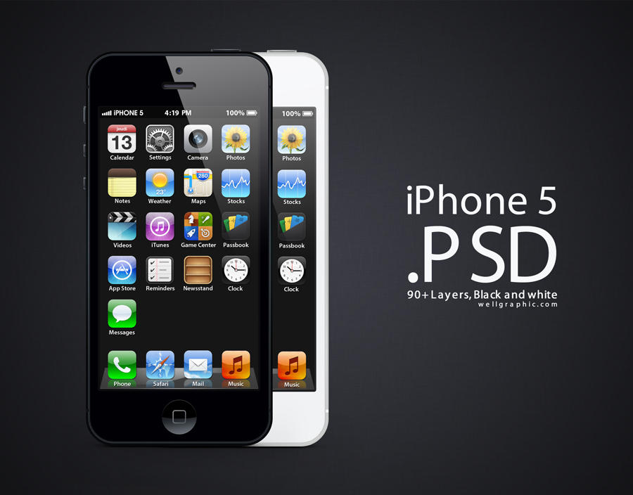 Apple iPhone 5 PSD by wellgraphic