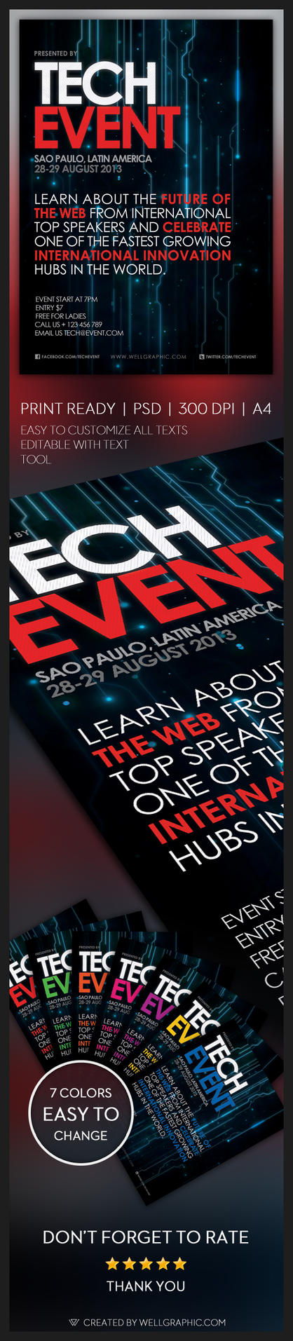 Tech Event Flyer by wellgraphic