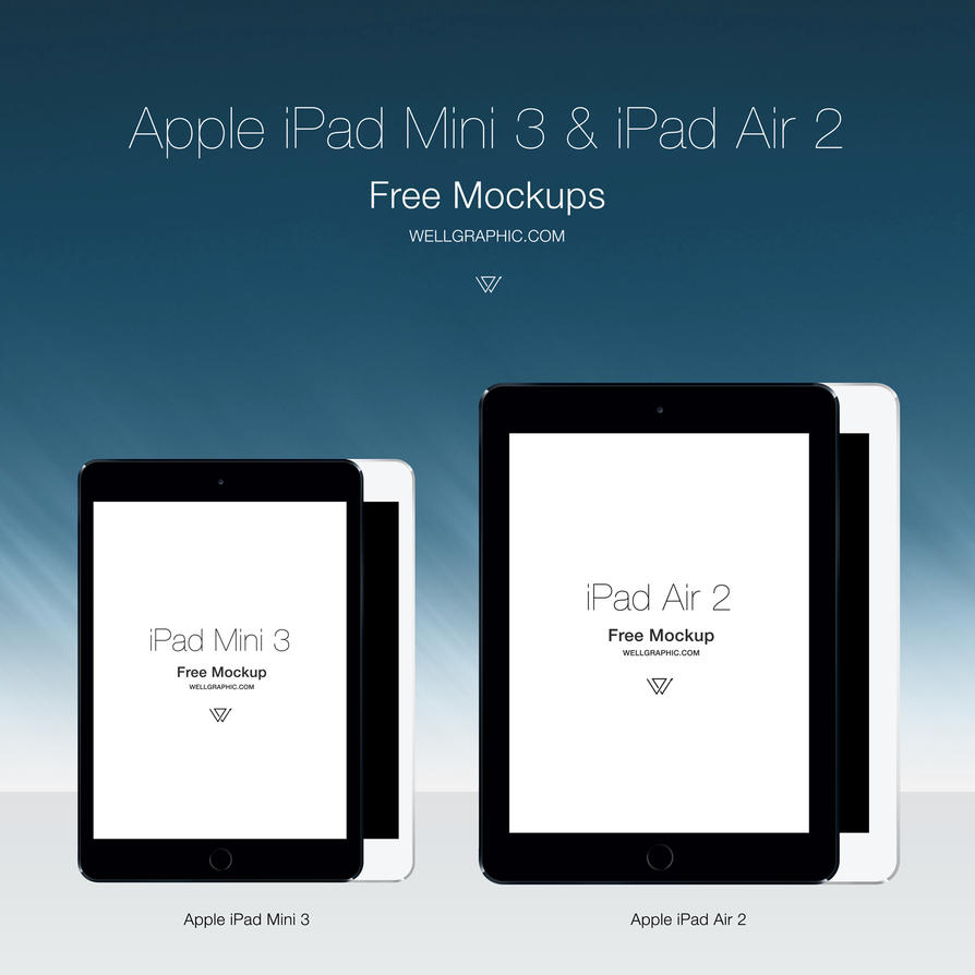 Apple iPad Mini 3 and iPad Air 2 Mockup PSD by wellgraphic