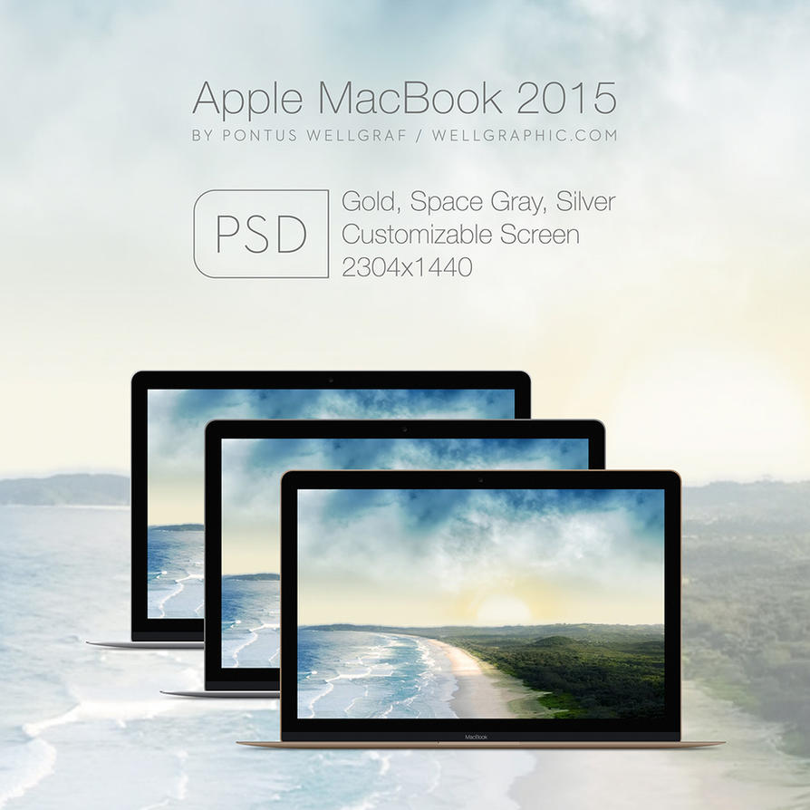 Apple Macbook 2015 Mockup PSD by wellgraphic