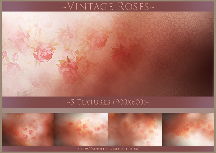 #8 Texture Pack (900x600) - Vintage Roses by Ainhel
