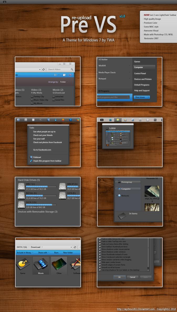 Pre Black VS for Windows 7 by vi20RickrMetal12us