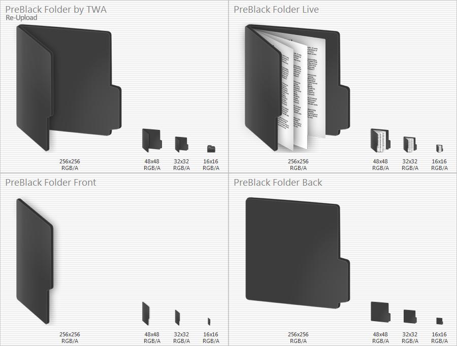 PreBlack Folder icons by vi20RickrMetal12us