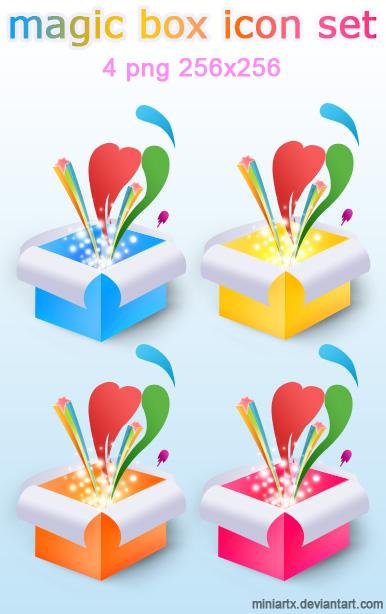 Magic boxes icon set