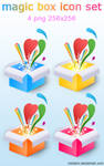 Magic boxes icon set
