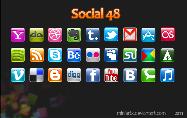 Shiny metallic square social icon set
