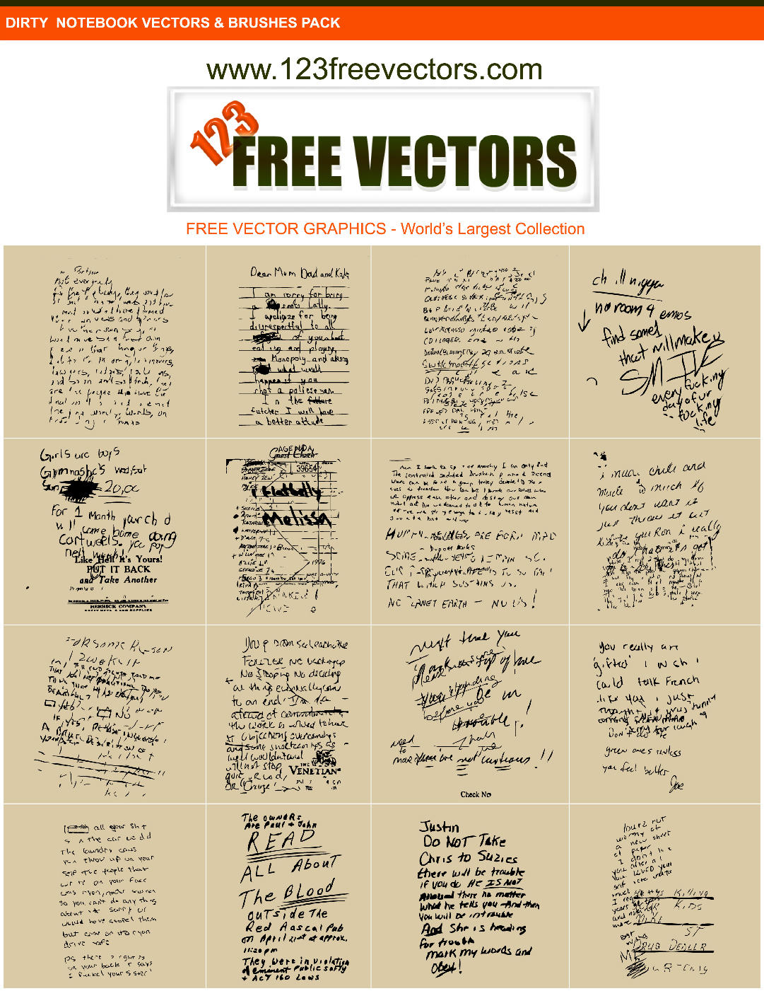 Dirty Note book Vectors by 123freevectors