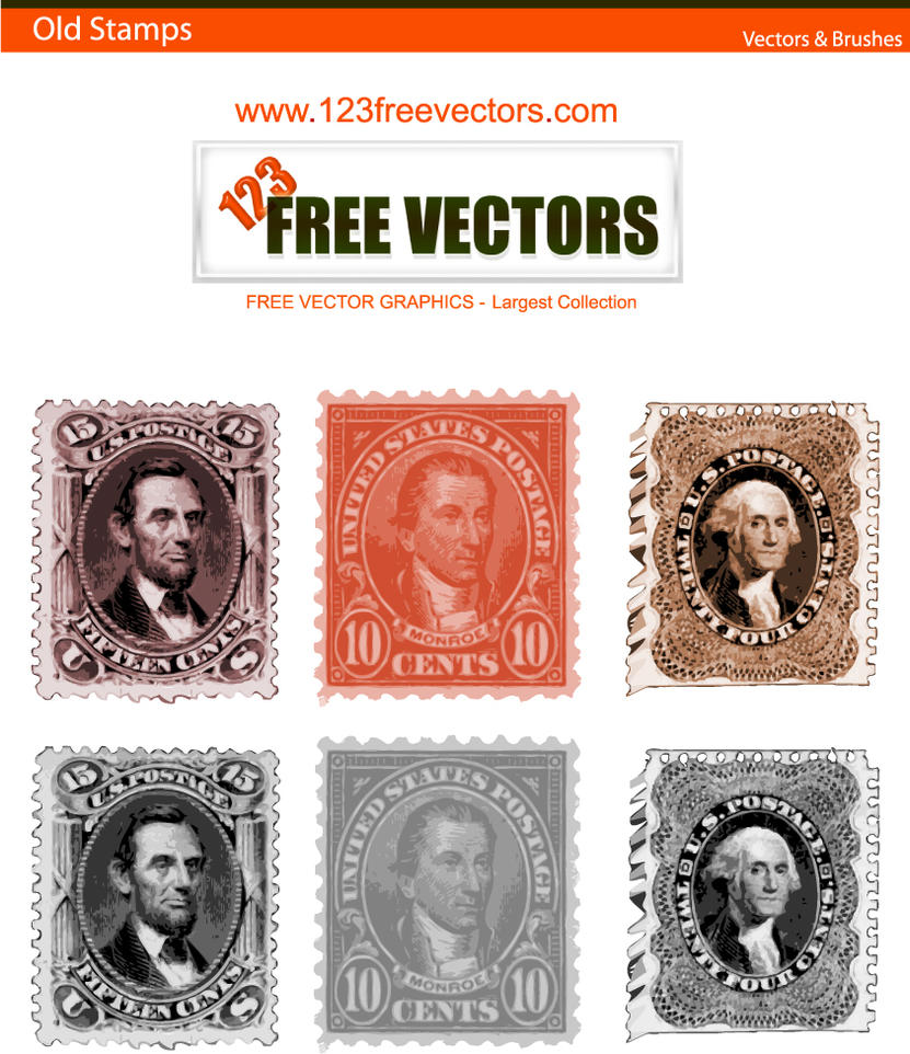 Old stamp Vectors by 123freevectors