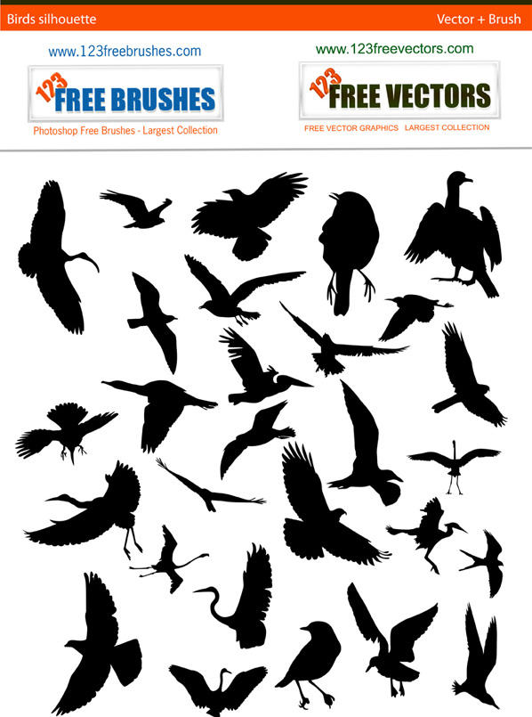 Bird Silhouette Free Pack by 123freevectors