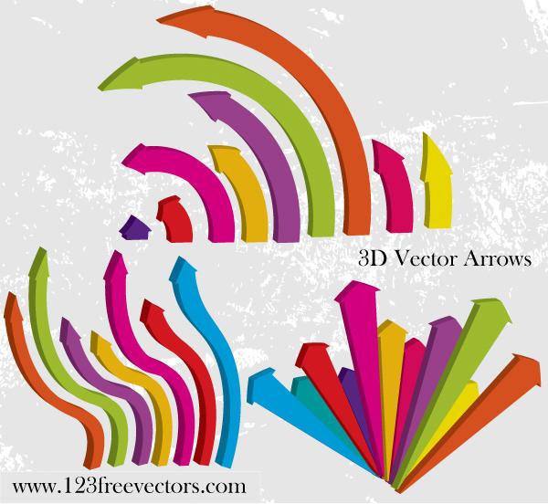 3D Vector Arrows by 123freevectors