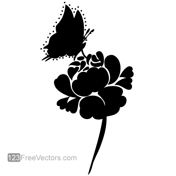 Rose Silhouette with Butterfly Vector Image by ...